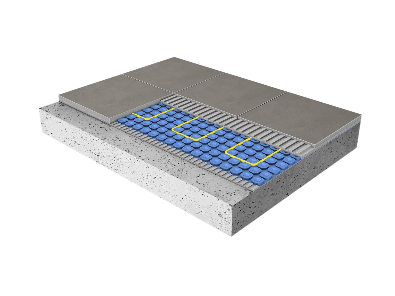 Electric underfloor heating cross section