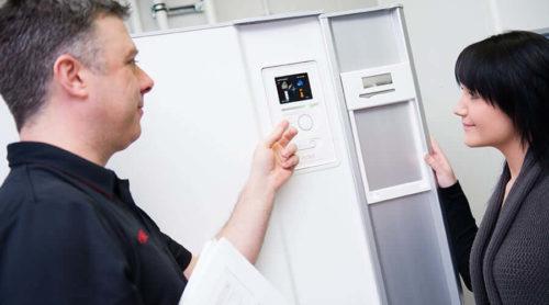 NIBE Heatpump shown to homeowner